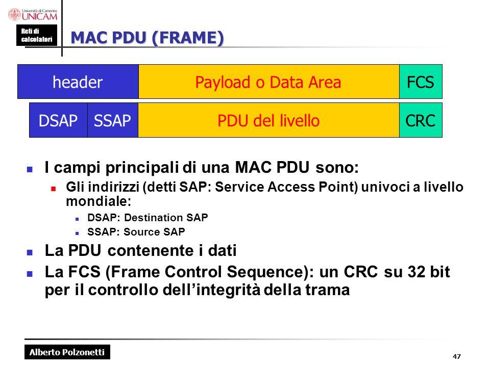 Alberto Polzonetti Reti di calcolatori 47 MAC PDU (FRAME) I campi principali di una MAC PDU sono: Gli indirizzi (detti SAP: Service Access Point) univ