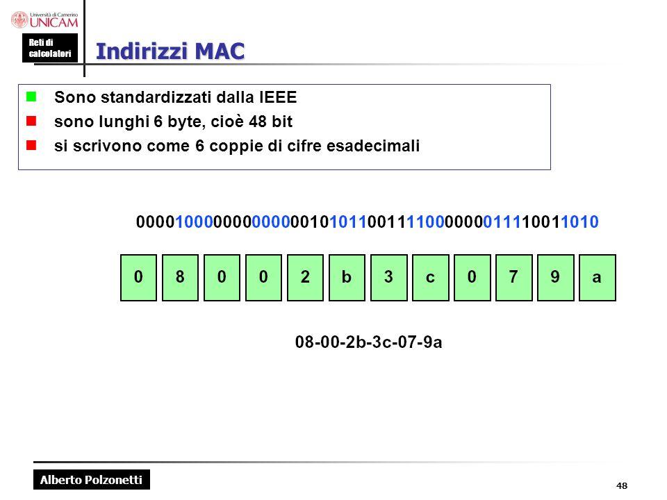 Alberto Polzonetti Reti di calcolatori 48 Indirizzi MAC  Sono standardizzati dalla IEEE  sono lunghi 6 byte, cioè 48 bit  si scrivono come 6 coppie