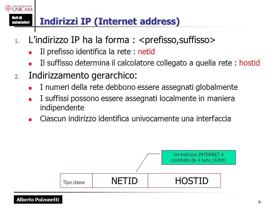 Alberto Polzonetti Reti di calcolatori 5 Indirizzi IP (Internet address) 1. L'indirizzo IP ha la forma : Il prefisso identifica la rete : netid Il suf