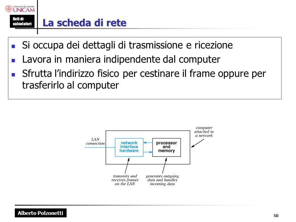 Alberto Polzonetti Reti di calcolatori 50 La scheda di rete Si occupa dei dettagli di trasmissione e ricezione Lavora in maniera indipendente dal comp