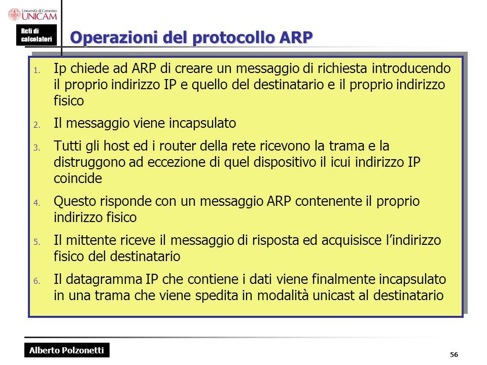 Alberto Polzonetti Reti di calcolatori 56 Operazioni del protocollo ARP 1. Ip chiede ad ARP di creare un messaggio di richiesta introducendo il propri