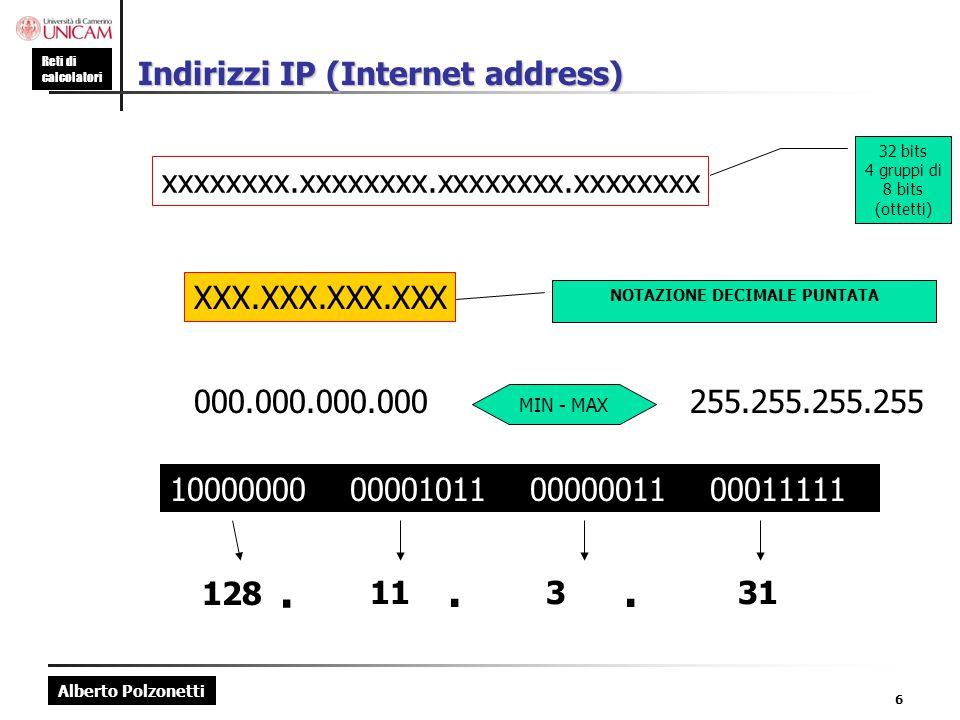 Alberto Polzonetti Reti di calcolatori 6 Indirizzi IP (Internet address) xxxxxxxx.xxxxxxxx.xxxxxxxx.xxxxxxxx 32 bits 4 gruppi di 8 bits (ottetti) XXX.