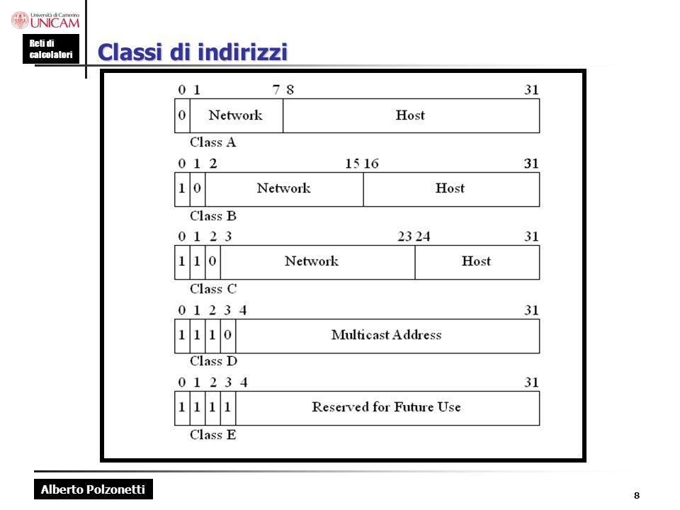 Alberto Polzonetti Reti di calcolatori 19 Reti private (RFC 1918) Si può usare un qualsiasi indirizzo di classe A, B e C Usare i blocchi riservati dallo IANA Classe A 10.0.0 (1 rete) Classe B 172.16 a 172.31 (16 reti) Classe C 192.168.0 a 192.168.255 (256 reti) Rete interna 192.168.3.0 internet Firewall (protocollo NAT)