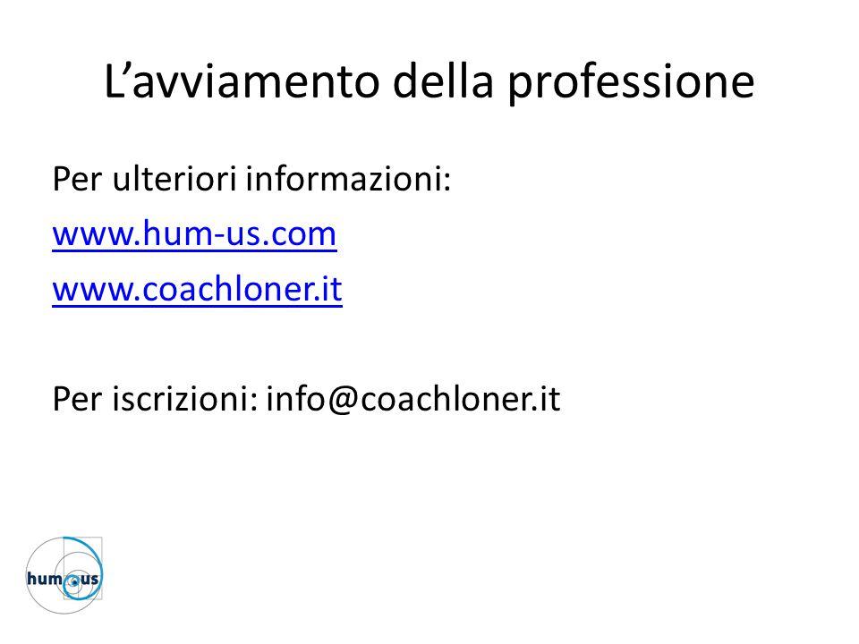 L'avviamento della professione Per ulteriori informazioni: www.hum-us.com www.coachloner.it Per iscrizioni: info@coachloner.it