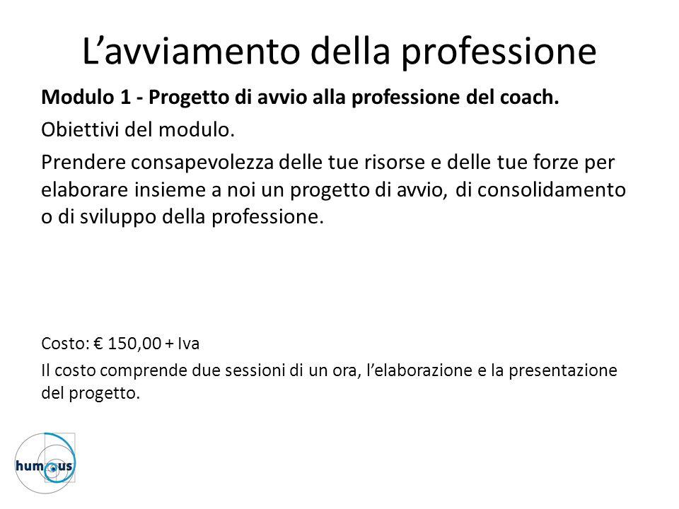 L'avviamento della professione Modulo 1 - Progetto di avvio alla professione del coach. Obiettivi del modulo. Prendere consapevolezza delle tue risors