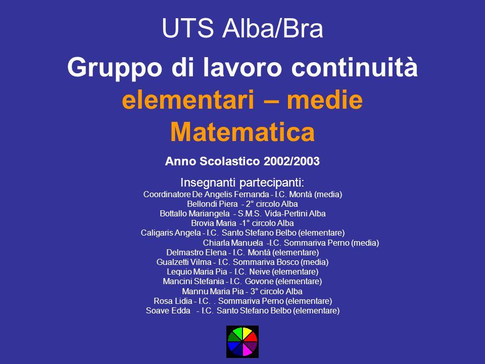 UTS Alba/Bra Gruppo di lavoro continuità elementari – medie Matematica Anno Scolastico 2002/2003 Insegnanti partecipanti: CoordinatoreDe Angelis Ferna