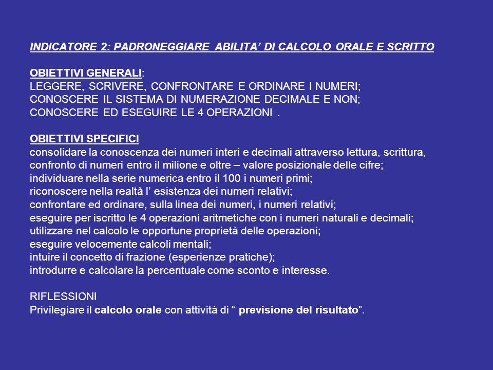 INDICATORE 2: PADRONEGGIARE ABILITA' DI CALCOLO ORALE E SCRITTO OBIETTIVI GENERALI: LEGGERE, SCRIVERE, CONFRONTARE E ORDINARE I NUMERI; CONOSCERE IL S
