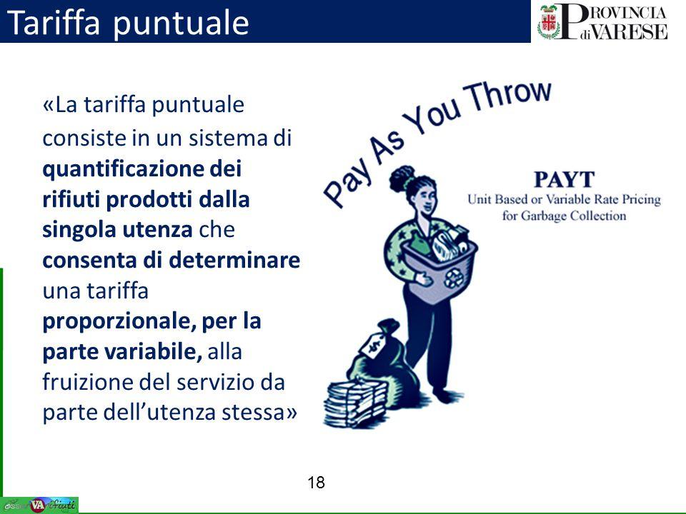 «La tariffa puntuale consiste in un sistema di quantificazione dei rifiuti prodotti dalla singola utenza che consenta di determinare una tariffa propo