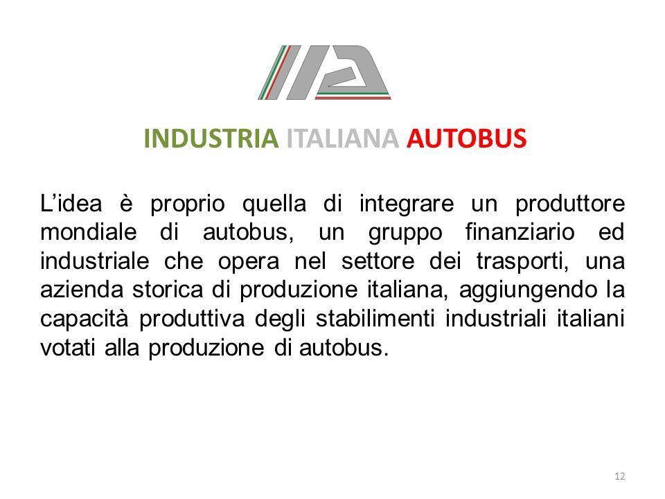 INDUSTRIA ITALIANA AUTOBUS L'idea è proprio quella di integrare un produttore mondiale di autobus, un gruppo finanziario ed industriale che opera nel