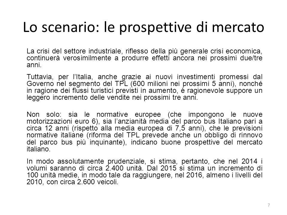 Lo scenario: le prospettive di mercato La crisi del settore industriale, riflesso della più generale crisi economica, continuerà verosimilmente a prod
