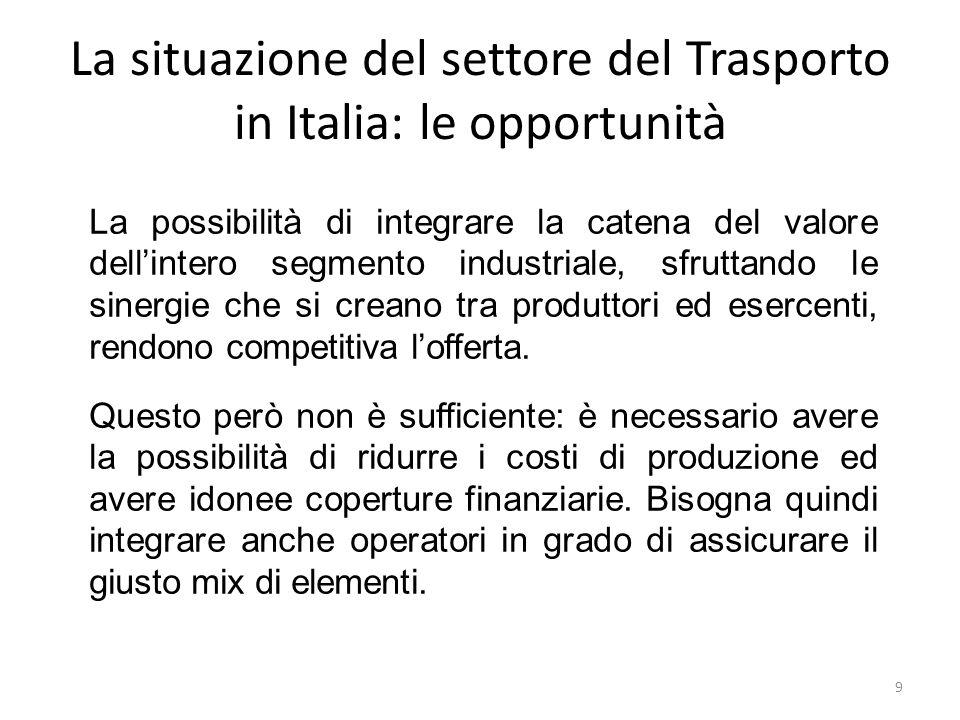 La situazione del settore del Trasporto in Italia: le opportunità La possibilità di integrare la catena del valore dell'intero segmento industriale, s