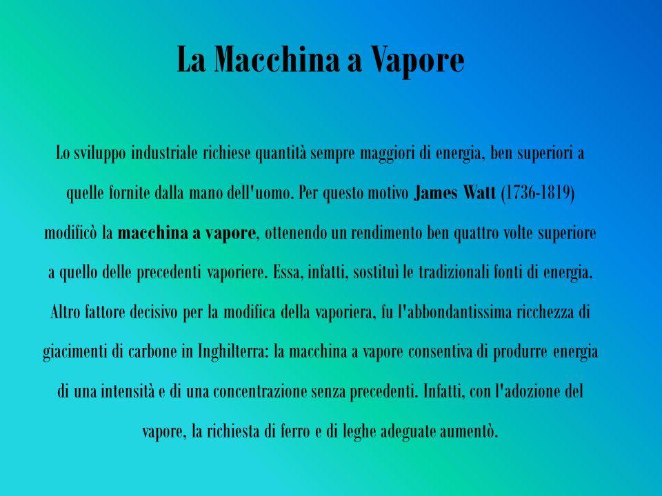 La Macchina a Vapore Lo sviluppo industriale richiese quantità sempre maggiori di energia, ben superiori a quelle fornite dalla mano dell uomo.