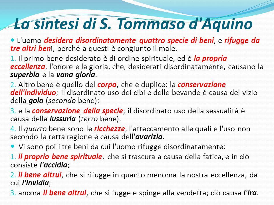La sintesi di S. Tommaso d'Aquino L'uomo desidera disordinatamente quattro specie di beni, e rifugge da tre altri beni, perché a questi è congiunto il