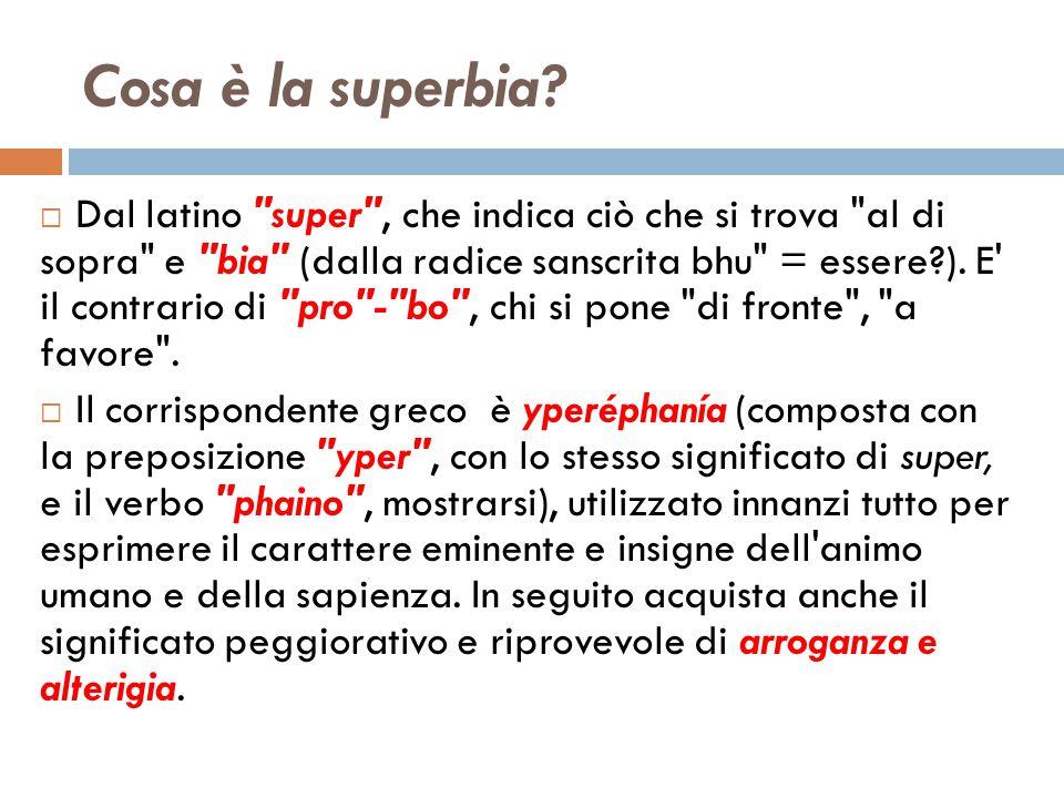 Cosa è la superbia?  Dal latino