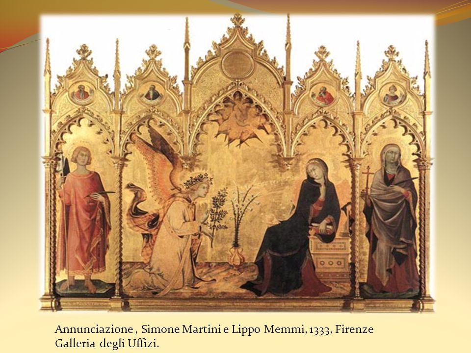 Annunciazione, Simone Martini e Lippo Memmi, 1333, Firenze Galleria degli Uffizi.