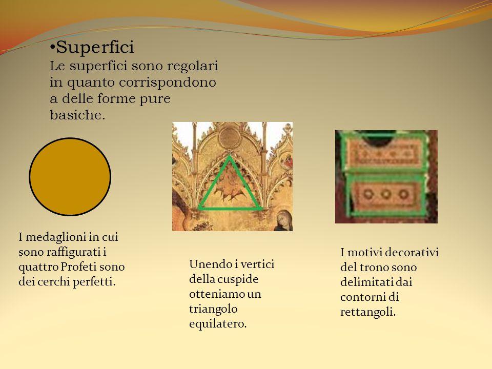 Superfici Le superfici sono regolari in quanto corrispondono a delle forme pure basiche. I medaglioni in cui sono raffigurati i quattro Profeti sono d