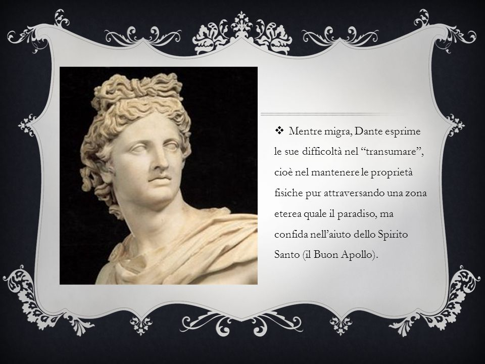 """ Mentre migra, Dante esprime le sue difficoltà nel """"transumare"""", cioè nel mantenere le proprietà fisiche pur attraversando una zona eterea quale il p"""