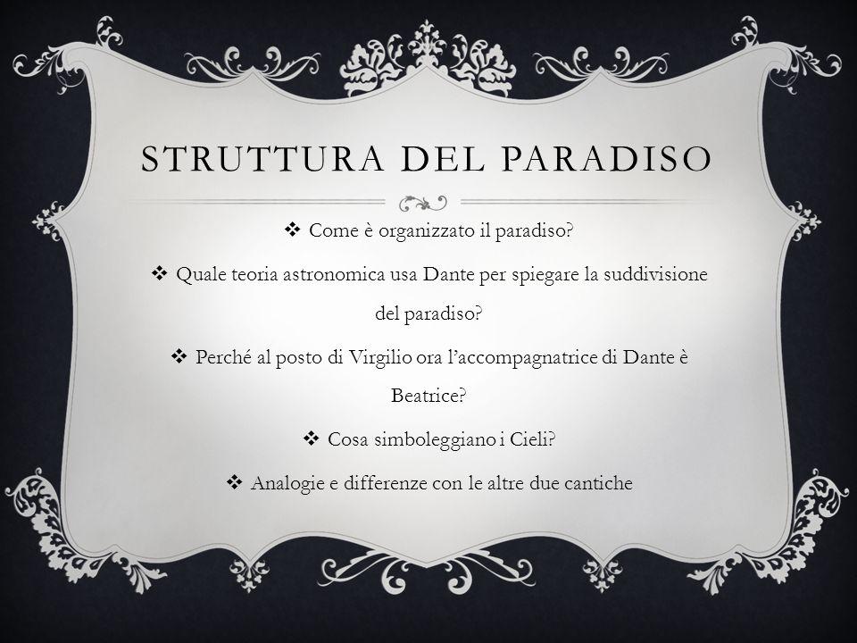 STRUTTURA DEL PARADISO  Come è organizzato il paradiso?  Quale teoria astronomica usa Dante per spiegare la suddivisione del paradiso?  Perché al p