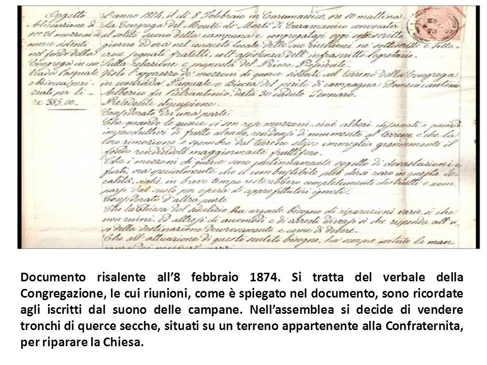 Documento risalente all'8 febbraio 1874.
