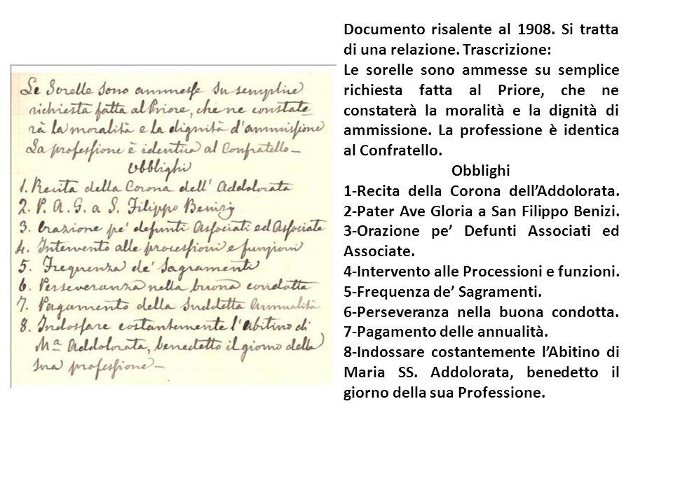 Documento risalente al 1908.Si tratta di una relazione.