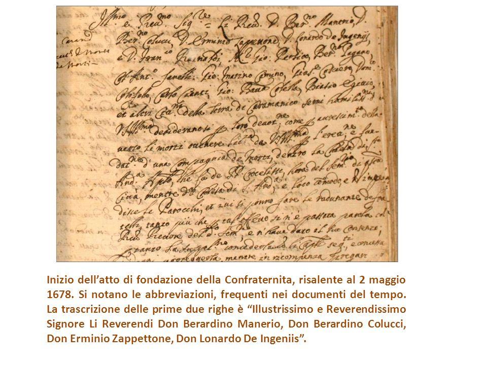 Inizio dell'atto di fondazione della Confraternita, risalente al 2 maggio 1678.