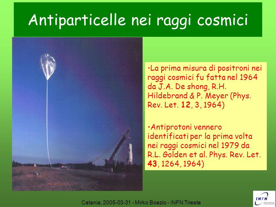 Catania, 2005-03-31 - Mirko Boezio - INFN Trieste Antiparticelle nei raggi cosmici La prima misura di positroni nei raggi cosmici fu fatta nel 1964 da