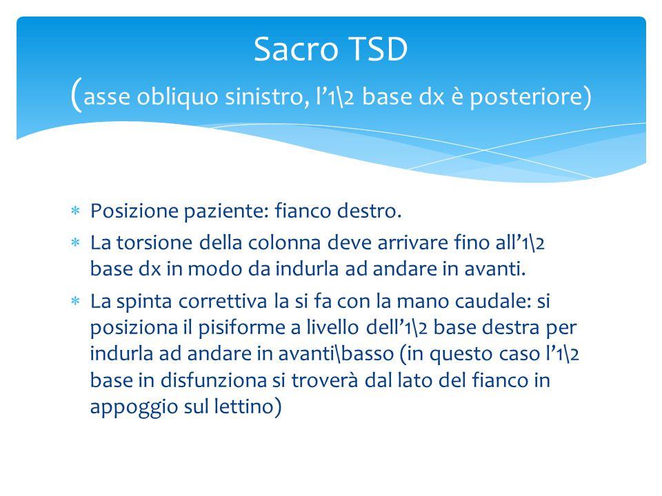  Posizione paziente: fianco destro.  La torsione della colonna deve arrivare fino all'1\2 base dx in modo da indurla ad andare in avanti.  La spint