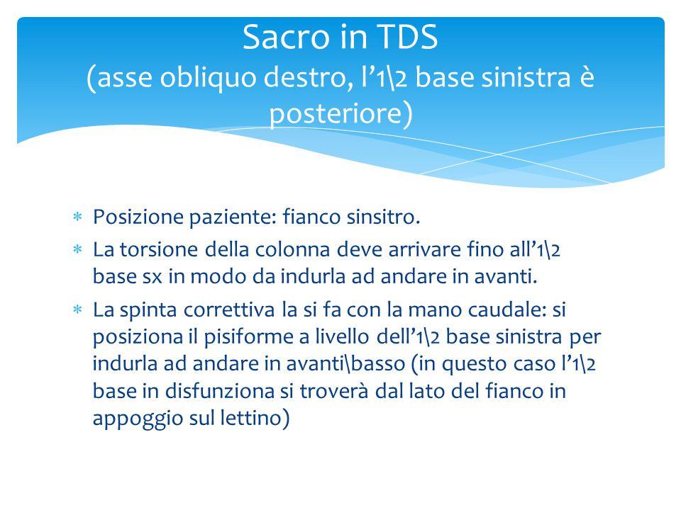  Posizione paziente: fianco sinsitro.  La torsione della colonna deve arrivare fino all'1\2 base sx in modo da indurla ad andare in avanti.  La spi