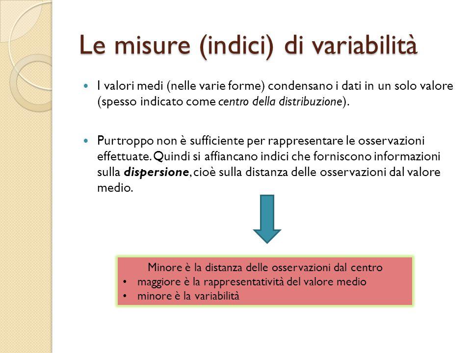 Le misure (indici) di variabilità I valori medi (nelle varie forme) condensano i dati in un solo valore (spesso indicato come centro della distribuzione).