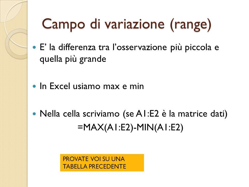 Campo di variazione (range) E' la differenza tra l'osservazione più piccola e quella più grande In Excel usiamo max e min Nella cella scriviamo (se A1:E2 è la matrice dati) =MAX(A1:E2)-MIN(A1:E2) PROVATE VOI SU UNA TABELLA PRECEDENTE
