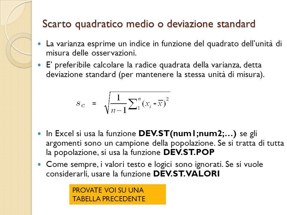 Scarto quadratico medio o deviazione standard La varianza esprime un indice in funzione del quadrato dell'unità di misura delle osservazioni. E' prefe