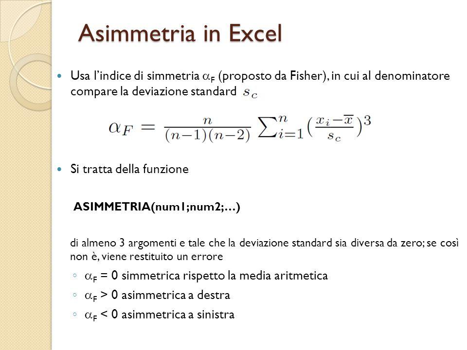 Asimmetria in Excel Usa l'indice di simmetria  F (proposto da Fisher), in cui al denominatore compare la deviazione standard Si tratta della funzione ASIMMETRIA(num1;num2;…) di almeno 3 argomenti e tale che la deviazione standard sia diversa da zero; se così non è, viene restituito un errore ◦ F = 0 simmetrica rispetto la media aritmetica ◦ F > 0 asimmetrica a destra ◦ F < 0 asimmetrica a sinistra