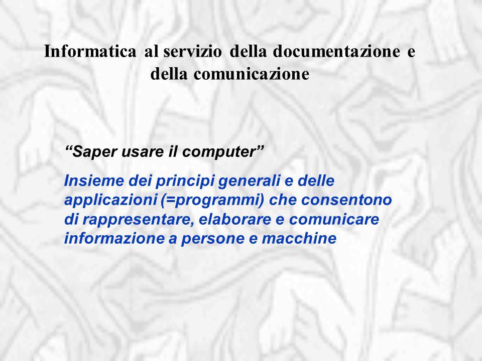 """""""Saper usare il computer"""" Insieme dei principi generali e delle applicazioni (=programmi) che consentono di rappresentare, elaborare e comunicare info"""