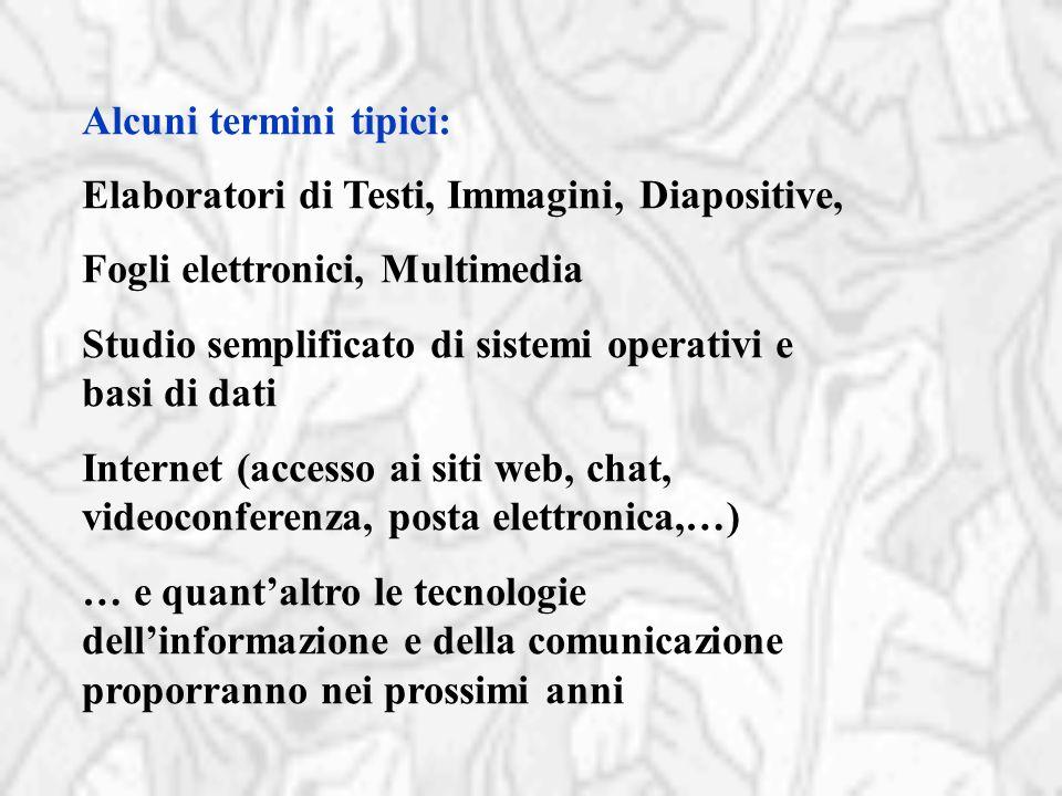Alcuni termini tipici: Elaboratori di Testi, Immagini, Diapositive, Fogli elettronici, Multimedia Studio semplificato di sistemi operativi e basi di d