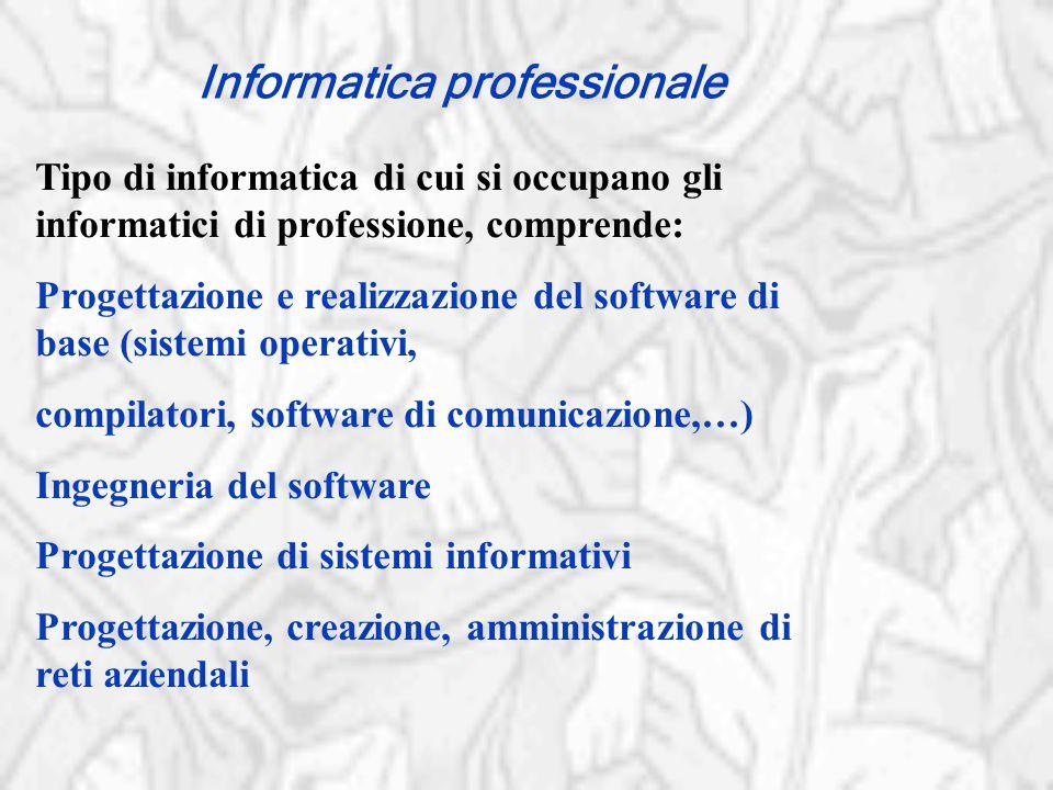 Informatica professionale Tipo di informatica di cui si occupano gli informatici di professione, comprende: Progettazione e realizzazione del software