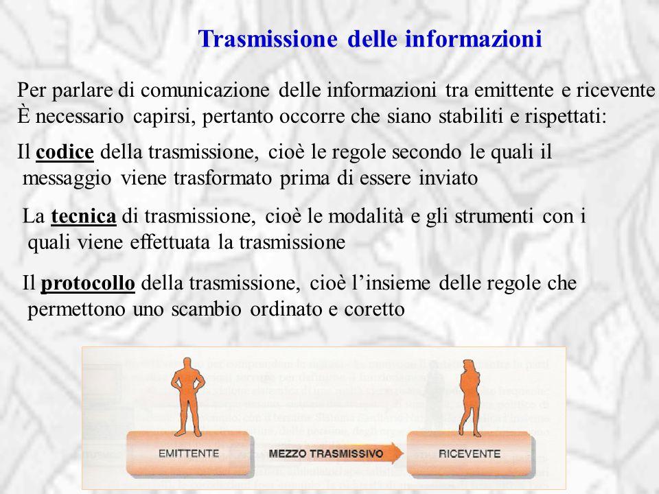 Trasmissione delle informazioni Per parlare di comunicazione delle informazioni tra emittente e ricevente È necessario capirsi, pertanto occorre che s