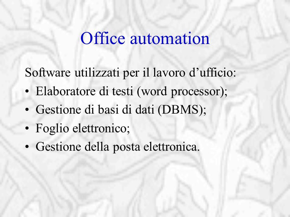 Office automation Software utilizzati per il lavoro d'ufficio: Elaboratore di testi (word processor); Gestione di basi di dati (DBMS); Foglio elettron