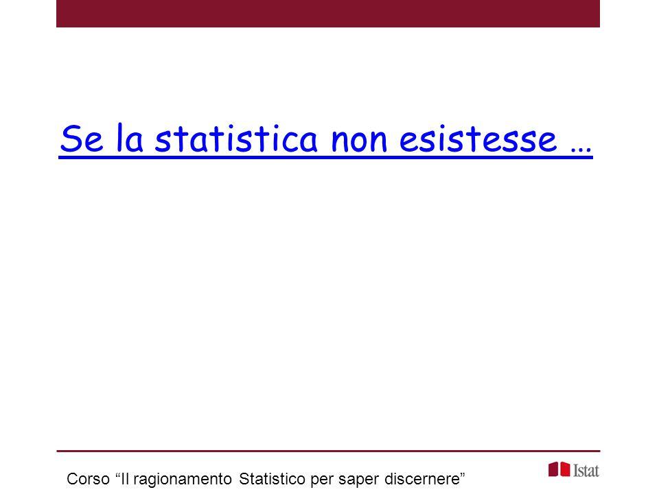 """Se la statistica non esistesse … Corso """"Il ragionamento Statistico per saper discernere"""""""