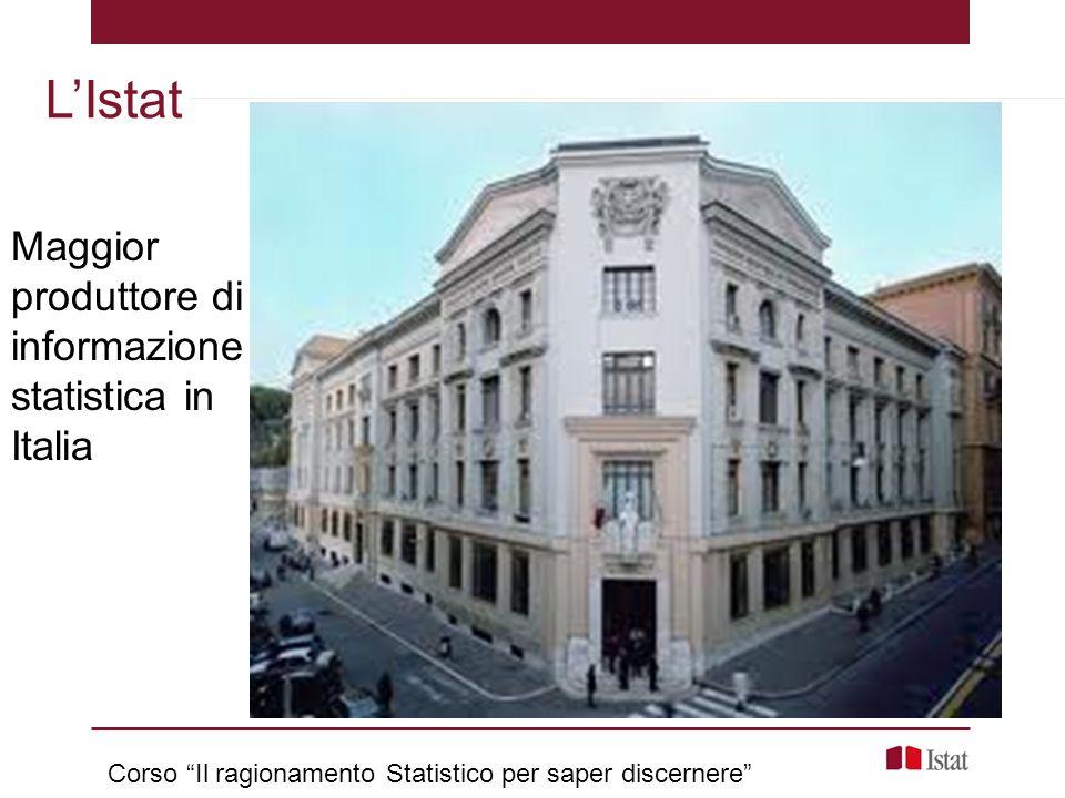 """Maggior produttore di informazione statistica in Italia L'Istat Corso """"Il ragionamento Statistico per saper discernere"""""""