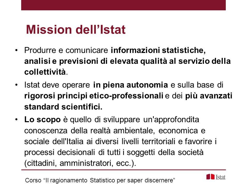 Produrre e comunicare informazioni statistiche, analisi e previsioni di elevata qualità al servizio della collettività. Istat deve operare in piena au