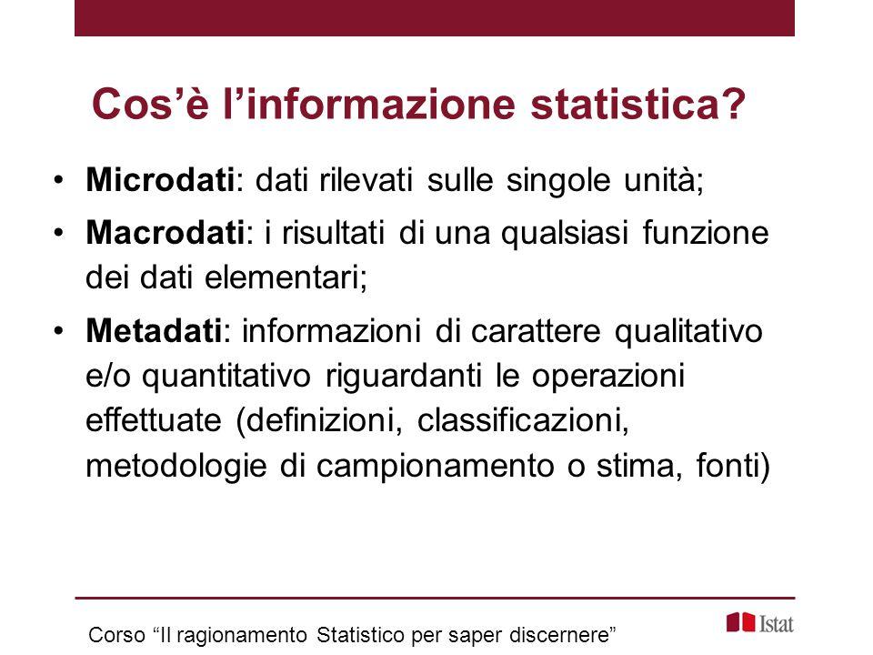 L'Istat, insieme al Sistan, fornisce l'informazione statistica ufficiale.