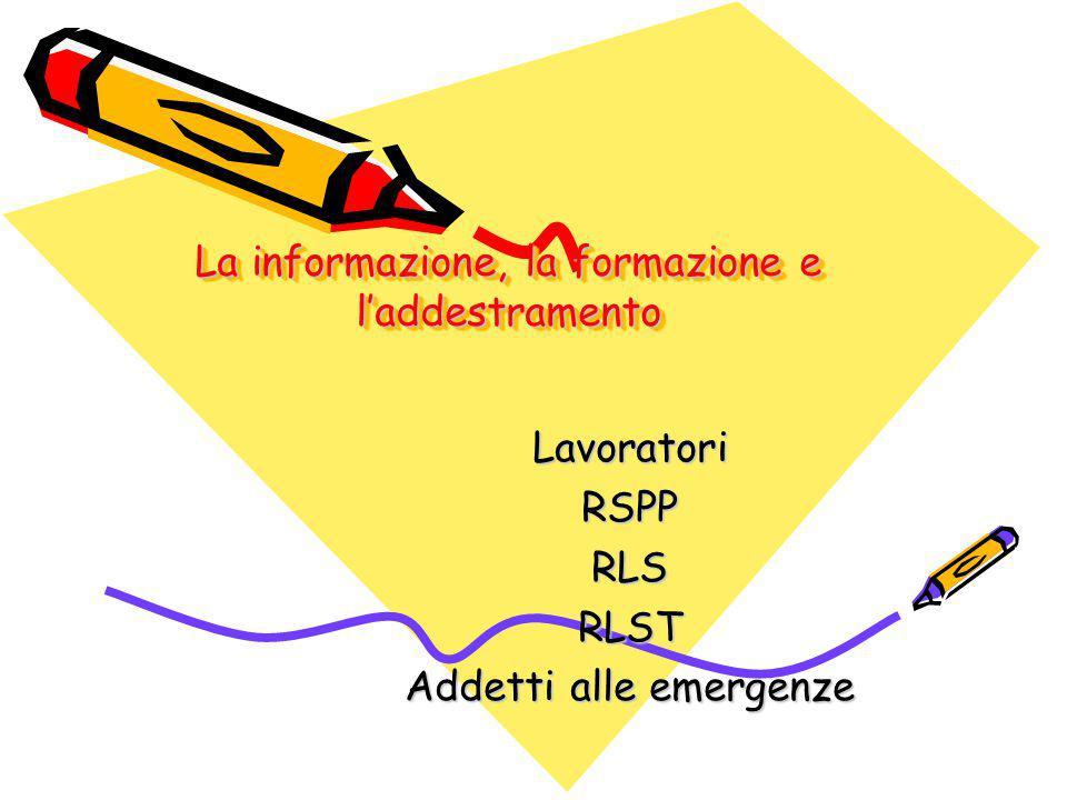 La informazione, la formazione e l'addestramento LavoratoriRSPPRLSRLST Addetti alle emergenze