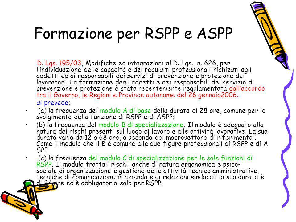 Formazione per RSPP e ASPP D. Lgs. 195/03, Modifiche ed integrazioni al D. Lgs. n. 626, per l'individuazione delle capacità e dei requisiti profession