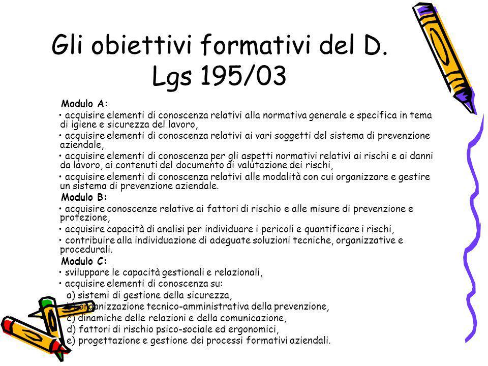 Gli obiettivi formativi del D.