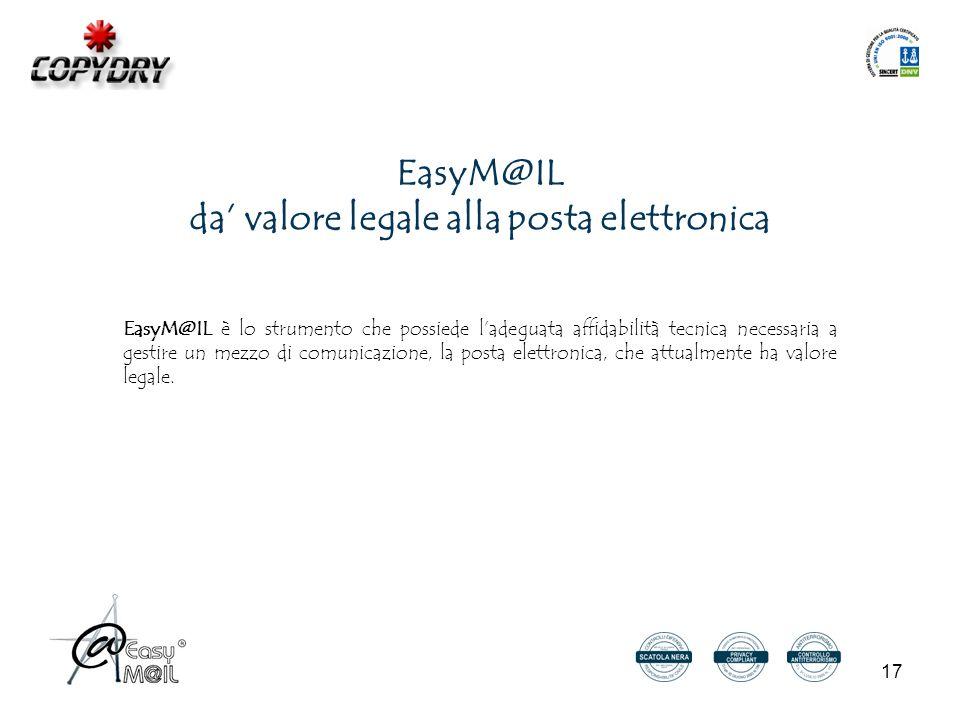 17 EasyM@IL da' valore legale alla posta elettronica EasyM@IL è lo strumento che possiede l'adeguata affidabilità tecnica necessaria a gestire un mezzo di comunicazione, la posta elettronica, che attualmente ha valore legale.