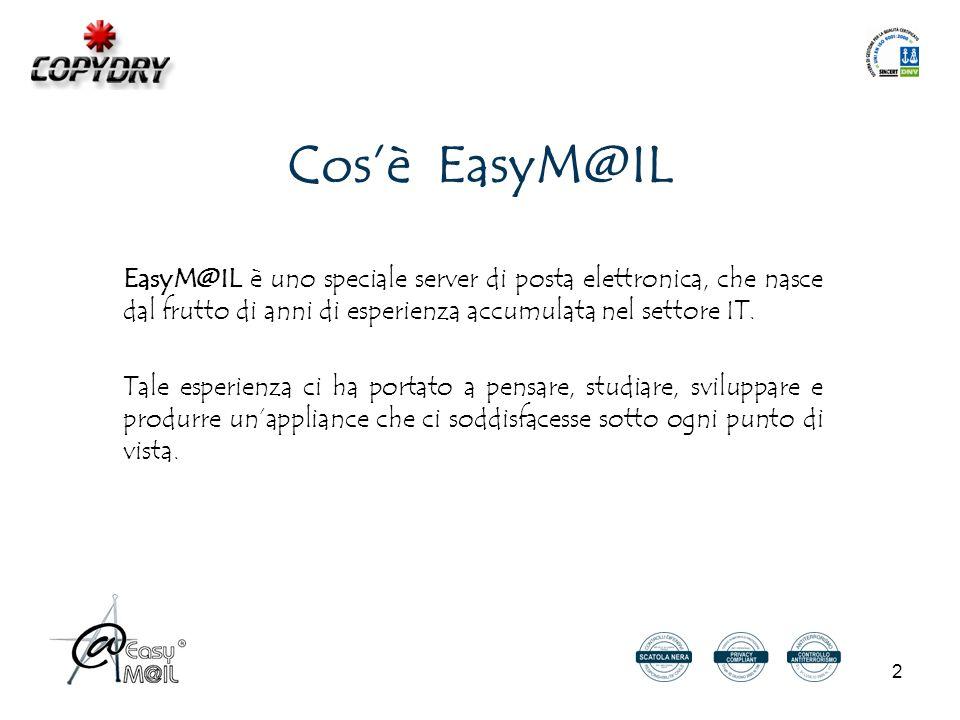 2 Cos'è EasyM@IL EasyM@IL è uno speciale server di posta elettronica, che nasce dal frutto di anni di esperienza accumulata nel settore IT.