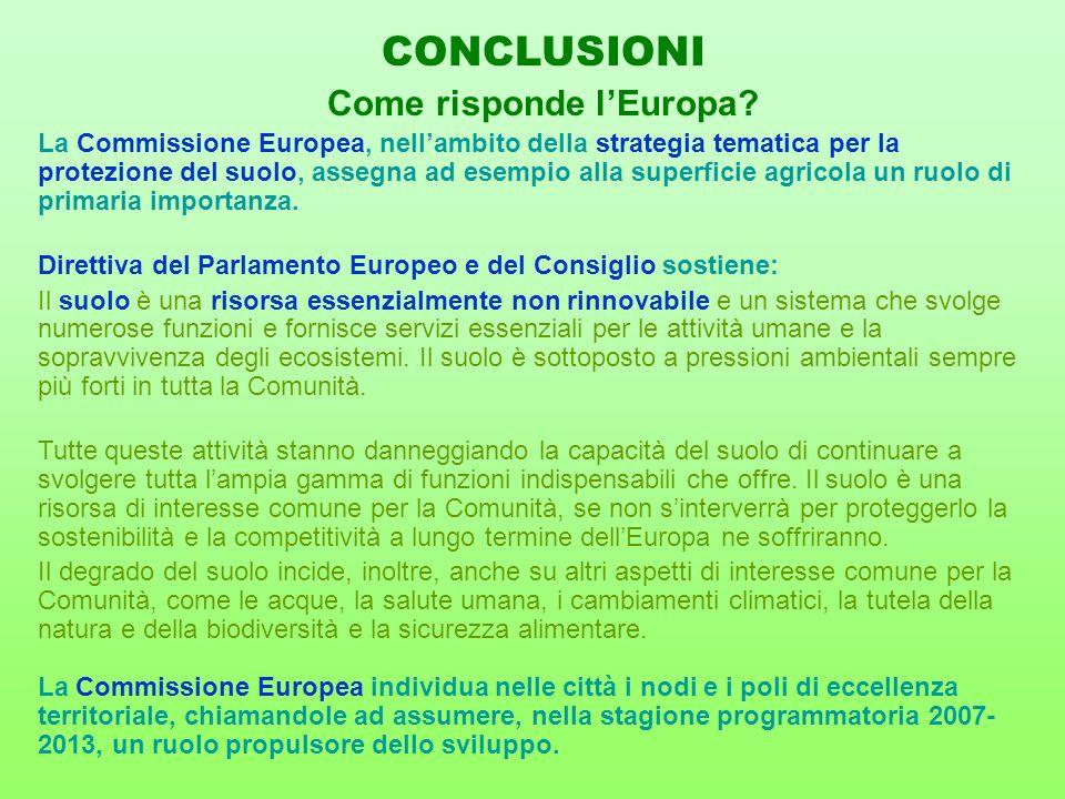 La Commissione Europea, nell'ambito della strategia tematica per la protezione del suolo, assegna ad esempio alla superficie agricola un ruolo di prim