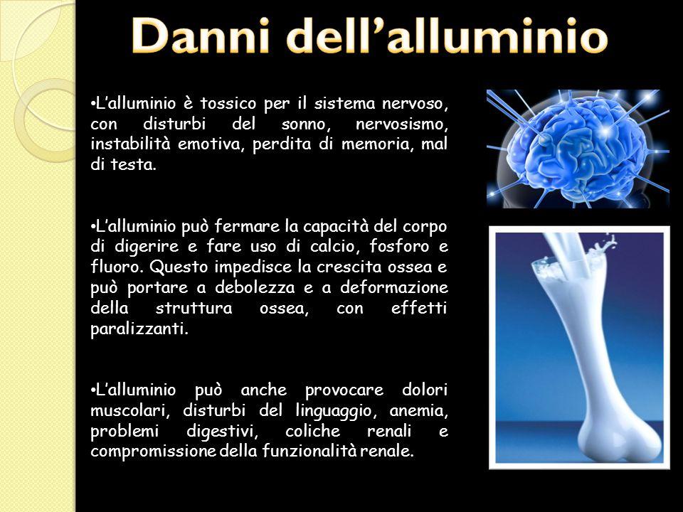 L'alluminio è tossico per il sistema nervoso, con disturbi del sonno, nervosismo, instabilità emotiva, perdita di memoria, mal di testa. L'alluminio p