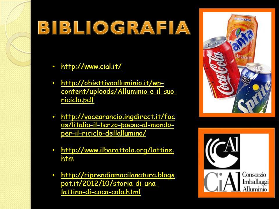 http://www.cial.it/ http://obiettivoalluminio.it/wp- content/uploads/Alluminio-e-il-suo- riciclo.pdf http://obiettivoalluminio.it/wp- content/uploads/Alluminio-e-il-suo- riciclo.pdf http://vocearancio.ingdirect.it/foc us/litalia-il-terzo-paese-al-mondo- per-il-riciclo-dellallumino/ http://vocearancio.ingdirect.it/foc us/litalia-il-terzo-paese-al-mondo- per-il-riciclo-dellallumino/ http://www.ilbarattolo.org/lattine.