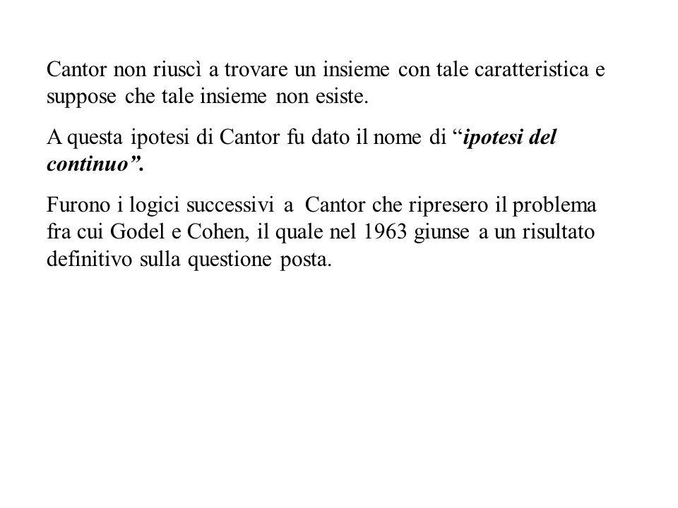"""Cantor non riuscì a trovare un insieme con tale caratteristica e suppose che tale insieme non esiste. A questa ipotesi di Cantor fu dato il nome di """"i"""